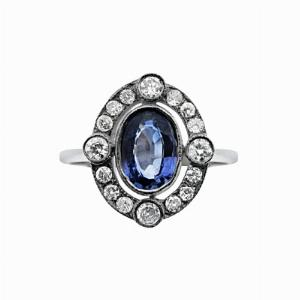 Vintage Blue Sapphire & Diamond Cluster Ring - 0.80ct Oval Sapphire